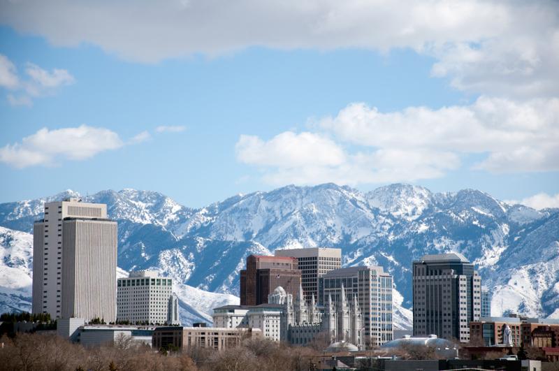 Salt Lake City, Utah, skyline, mountains, city, urban, winter.