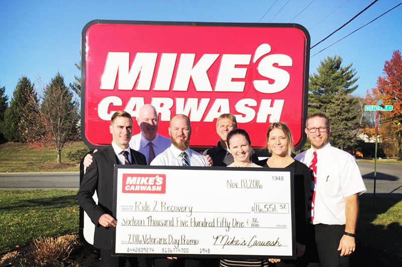 Mike's Carwash, Ride 2 Recovery, check presentation