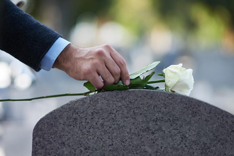 gravestone, rose, man, mourner, funeral, death, cemetery