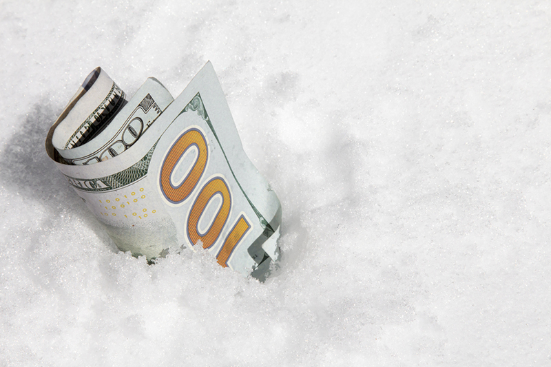 hundred dollar bill, snow, winter services, profit, additional profit center, money