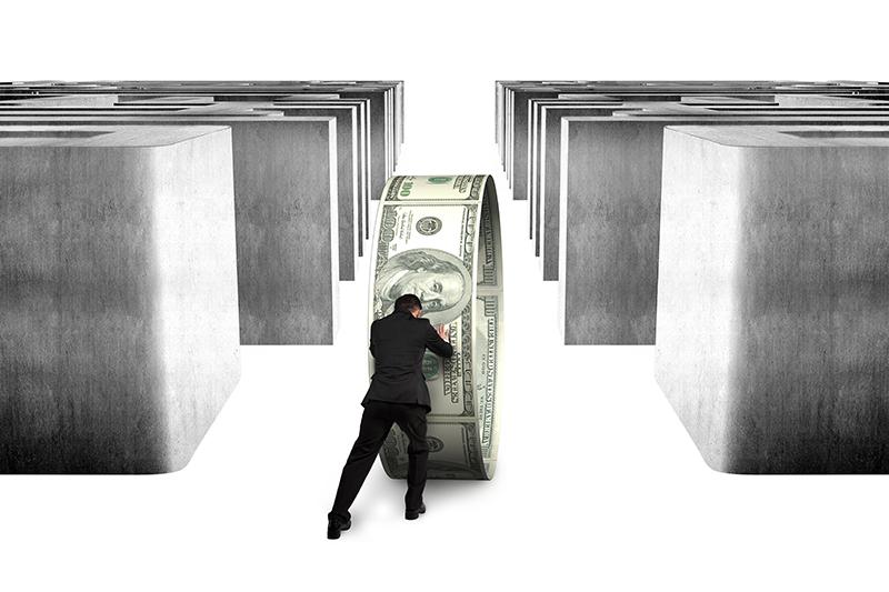 businessman, money, dollars, maze, financing, loans