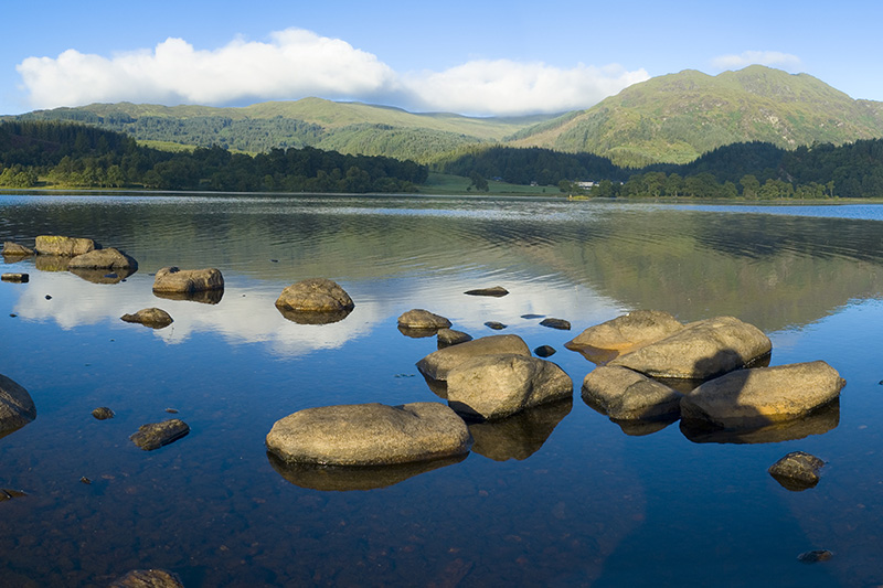water, lake, mountains, rocks, clouds, sky