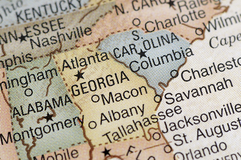 map, South, Georgia, South Carolina, Alabama, Tennessee, North Carolina