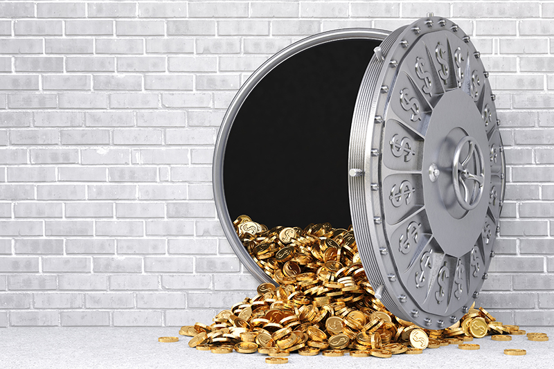 bank door, vault, money, coins, financing