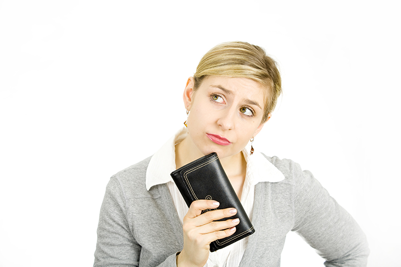 woman, wallet, buying, selling, decision