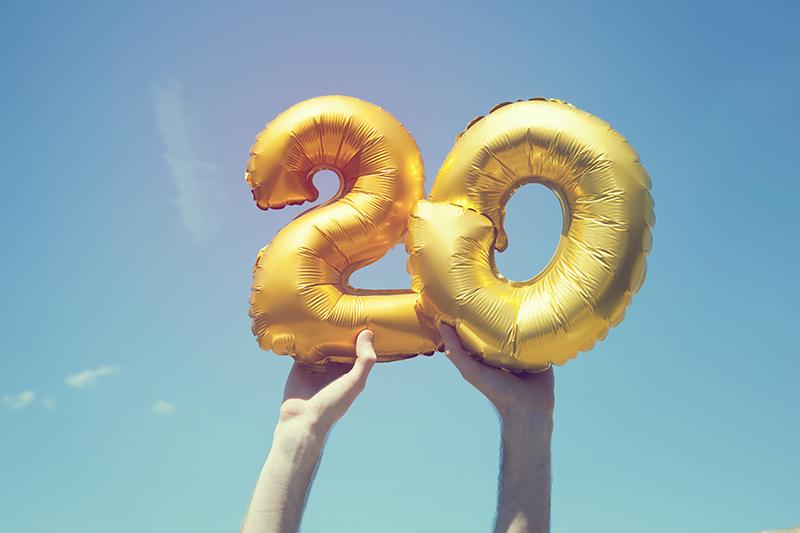 20 years, anniversary, birthday, gold balloons