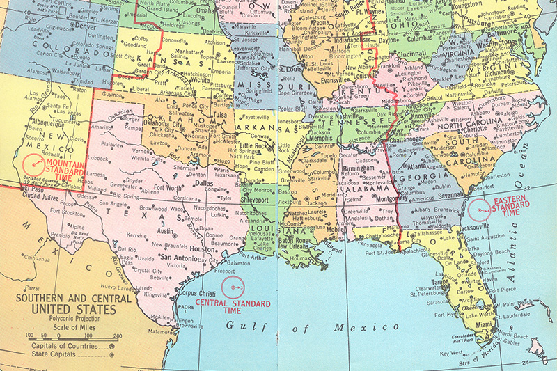 south, central, U.S., United States, map