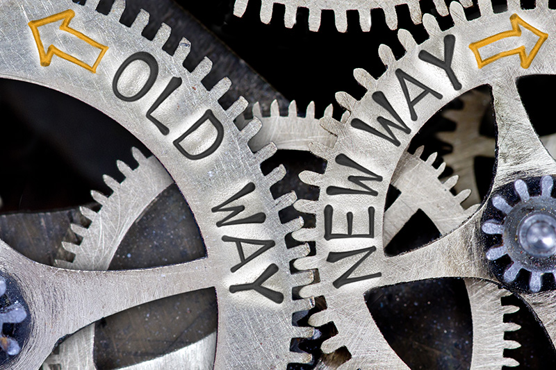 old way, new way, past, future, gears