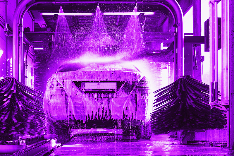 carwash, brushes, lights, water, arch, purple