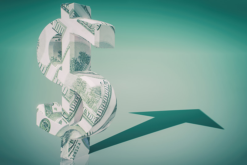 money, growth, dollar bills, arrow, revenue