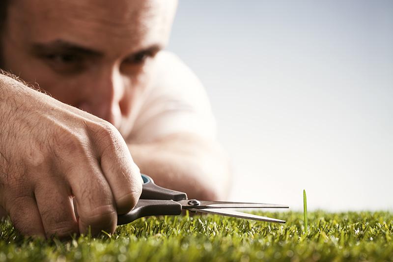 perfectionist, belief systems, mindset, man, grass, scissors