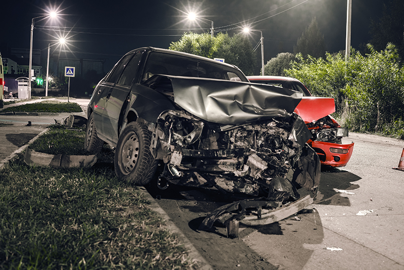 collision, accident, night, cars, road