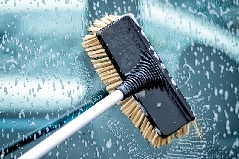 carwash brush, hog's hair brush, car, water, soap