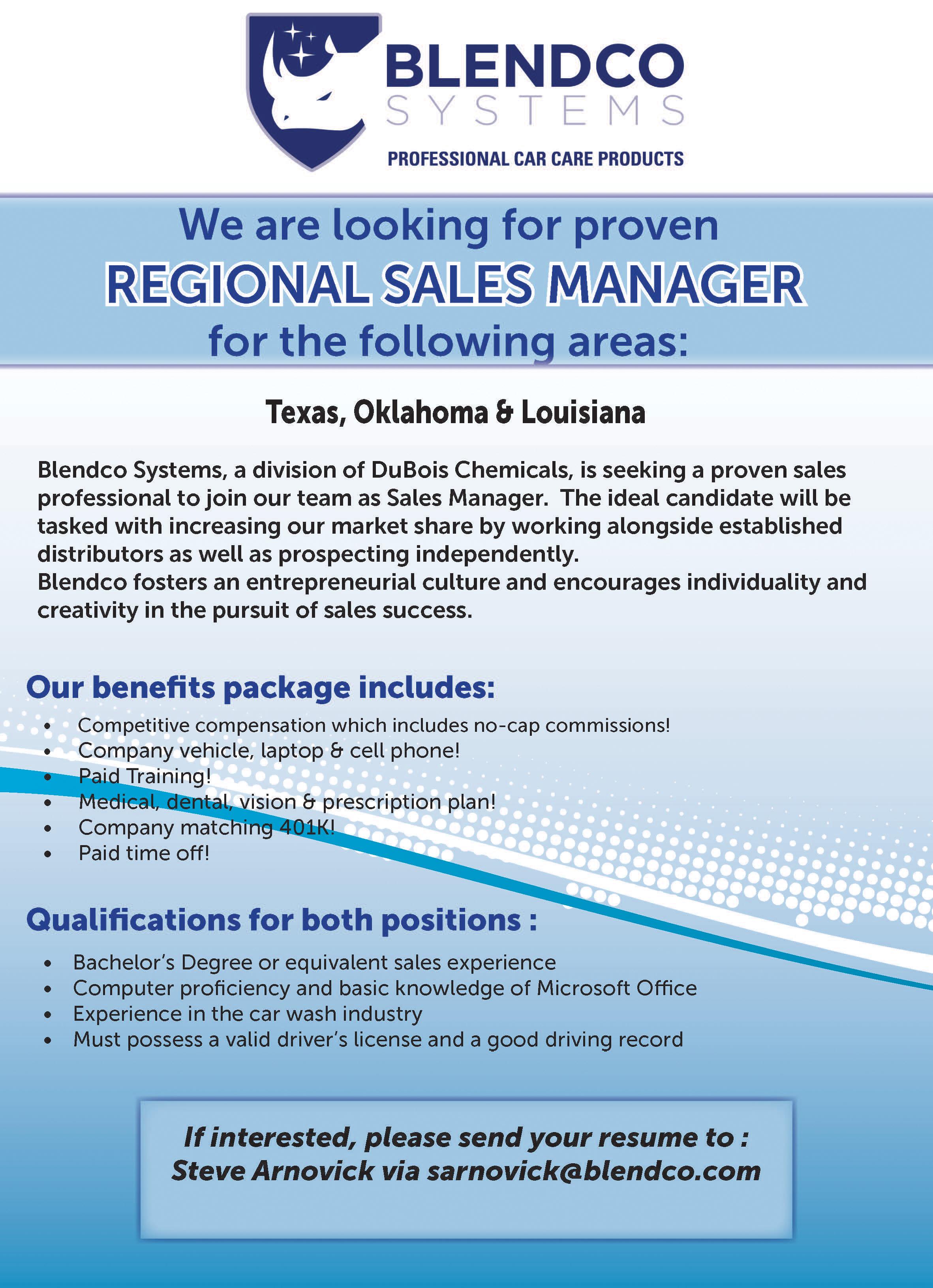 Regional Sales Manager Professional Carwashing Detailing