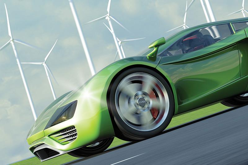 green carwashing, green car, windmills, eco-friendly