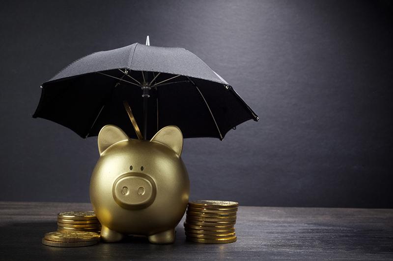 insurance, piggy bank, umbrella, money, coins