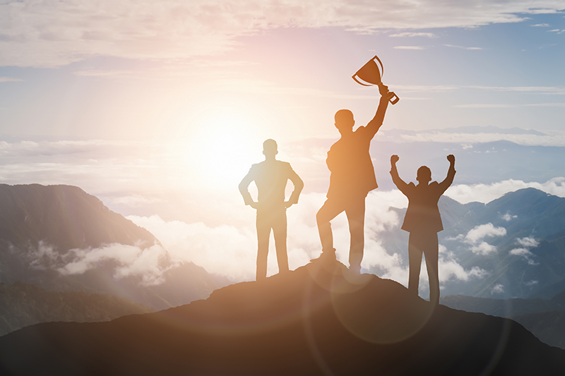 scaling, success, achievement, businessmen, trophy, mountain