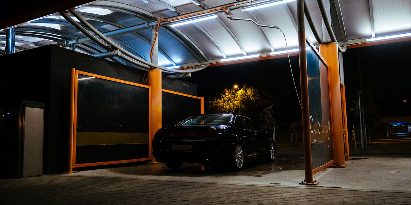 self-serve carwash, LED lighting, modern, LEDs