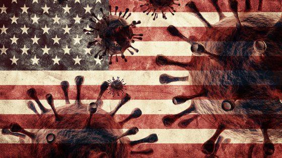 American flag, coronavirus