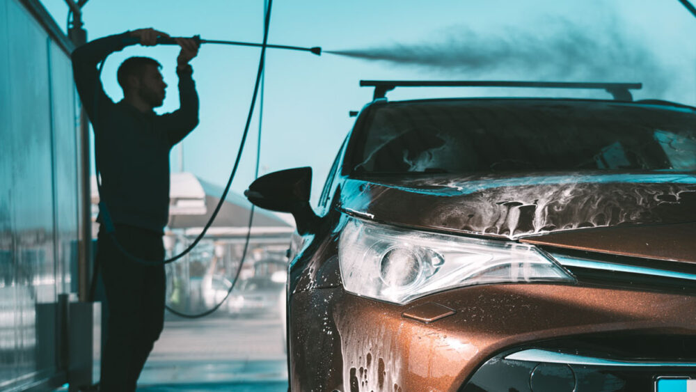self-serve car wash, water, chemicals, soap, dispensing, dispensers